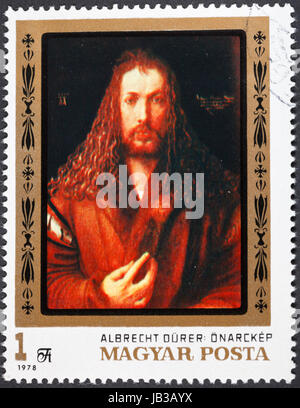 HUNGARY - CIRCA 1978: A postage stamp printed in the Hungary shows painting Albrecht Durer self portrait from Alte - Stock Photo