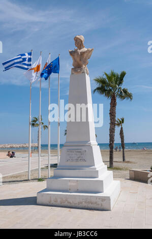 Zeno of Kition monument, Europe Square, Athenon Avenue, Larnaca, Larnaca District, Republic of Cyprus - Stock Photo