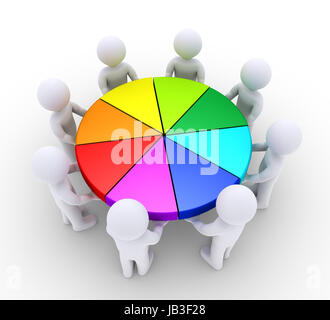 3d people are holding different slices of pie chart - Stock Photo