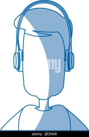 man character wearing headphones device technology - Stock Photo
