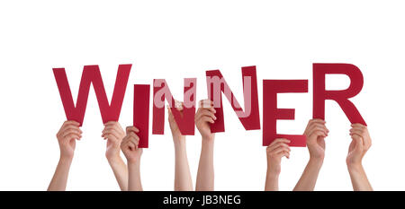 Many Hands Holding the Red Word Winner, Isolated - Stock Photo