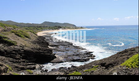 View of Sandy Beach Park from the Halona Blowhole Lookout, Oahu, Hawaii - Stock Photo