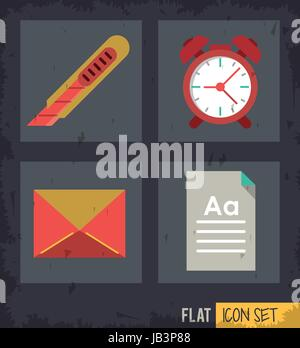 black background squares set with cutter and clock and mail and sheet - Stock Photo