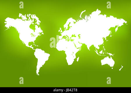 Image of a world map on a colorful green background. - Stock Photo
