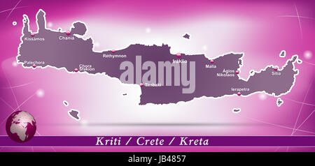 Kreta in Griechenland als Inselkarte mit abstraktem Hintergrund  in Violett. Durch die ansprechende Gestaltung fügt - Stock Photo