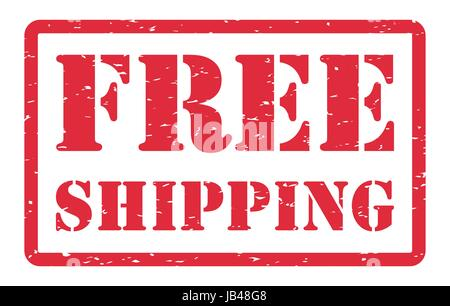 red free shipping stamp on a white background - Stock Photo