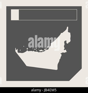United Arab Emirates map button in responsive flat web design map button isolated with clipping path. - Stock Photo