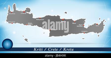 Kreta in Griechenland als Inselkarte mit abstraktem Hintergrund  in Blau. Durch die ansprechende Gestaltung fügt - Stock Photo