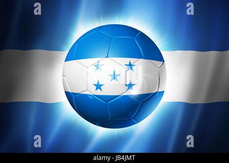 3D soccer ball with Honduras team flag, world football cup Brazil 2014 - Stock Photo