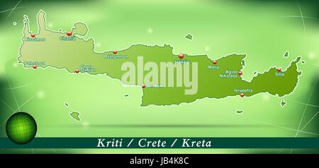 Kreta in Griechenland als Inselkarte mit abstraktem Hintergrund  in Grün. Durch die ansprechende Gestaltung fügt - Stock Photo