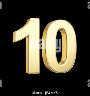 Number ten - golden number isolated on black with clipping path - Stock Photo