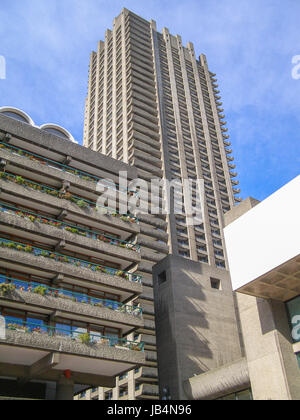 LONDON, ENGLAND, UK - MARCH 07, 2008: The Barbican Complex built in the sixties and seventies is a Grade II listed - Stock Photo