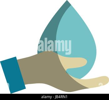 hand with water drop to ecology presenvation - Stock Photo