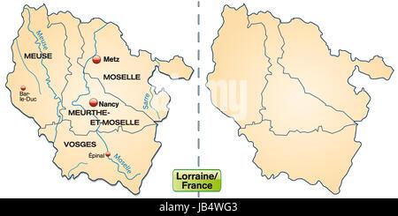 Lothringen in Frankreich als Inselkarte mit Grenzen in Pastellorange. Die Karte kann sofort für Ihr Vorhaben eingesetzt - Stock Photo
