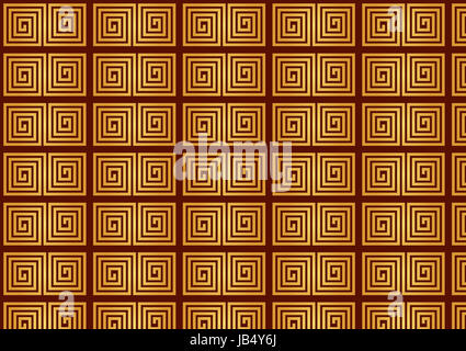 Yellow Chinese new year pattern on dark red background. Retro asia pattern - Stock Photo