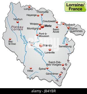 Lothringen in Frankreich als Inselkarte  mit allen wichtigen topografischen Informationen in Grau. Die Karte kann - Stock Photo