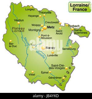 Lothringen in Frankreich als Inselkarte  mit allen wichtigen topografischen Informationen in Grün. Die Karte kann - Stock Photo