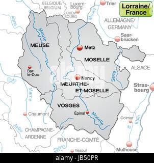 Lothringen in Frankreich als Umgebungskarte mit Grenzen in Grau. Die Karte kann sofort für Ihr Vorhaben eingesetzt - Stock Photo