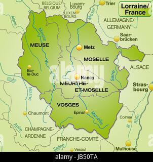 Lothringen in Frankreich als Umgebungskarte mit Grenzen in Grün. Die Karte kann sofort für Ihr Vorhaben eingesetzt - Stock Photo