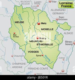 Lothringen in Frankreich als Umgebungskarte mit Grenzen in Pastellgrün. Die Karte kann sofort für Ihr Vorhaben eingesetzt - Stock Photo