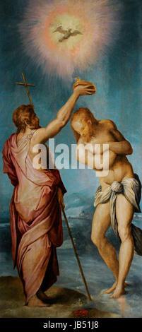 Sacristy of St Giovanni Carbonara by Giorgio Vasari (1511-1574) and Cristofano Gherardi (1508-1556). Baptism of - Stock Photo
