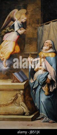 Sacristy of St Giovanni Carbonara by Giorgio Vasari (1511-1574) and Cristofano Gherardi (1508-1556). Prophet Zechariah. - Stock Photo