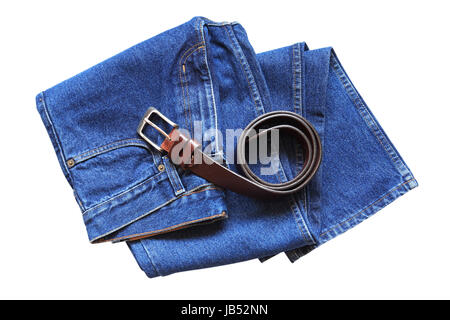 New blue jeans and belt on white background. Isolated with clipping path - Stock Photo