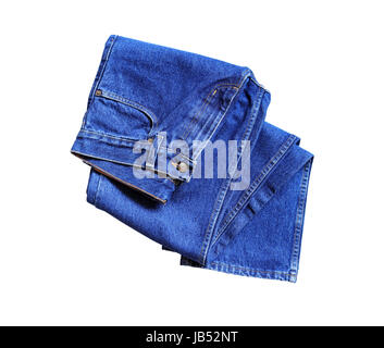 New blue jeans on white background. Isolated with clipping path - Stock Photo