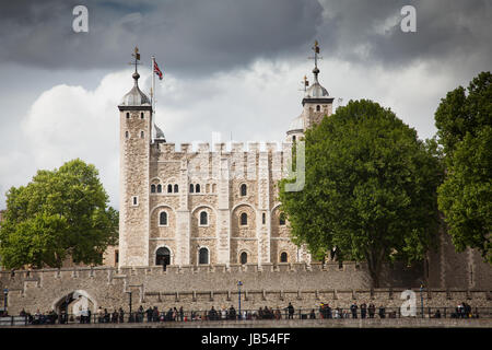 LONDON/UK - MAY 20 : The Tower of London seen across the river Thames - Stock Photo