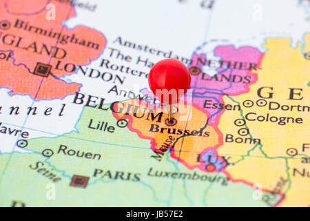 Round Red Thumb Tack Pinched Through Brussels On Belgium Map Part - Brussels belgium map