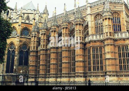 The Westminster Abbey church in London, UK - Stock Photo