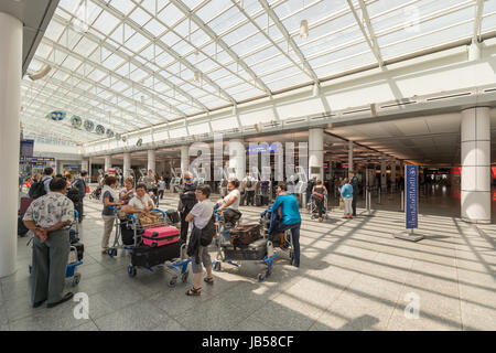 Montreal, CANADA - 8 June 2017: Passengers waiting for their flights at Pierre Elliott Trudeau International Airport - Stock Photo