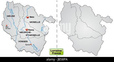 Lothringen in Frankreich als Inselkarte mit Grenzen in Grau. Die Karte kann sofort für Ihr Vorhaben eingesetzt werden. - Stock Photo