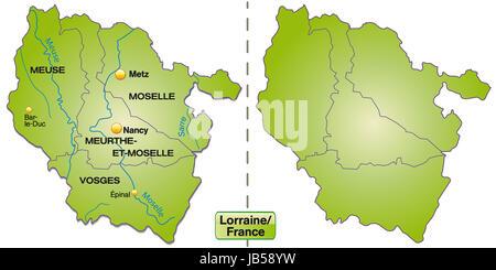Lothringen in Frankreich als Inselkarte mit Grenzen in Grün. Die Karte kann sofort für Ihr Vorhaben eingesetzt werden. - Stock Photo