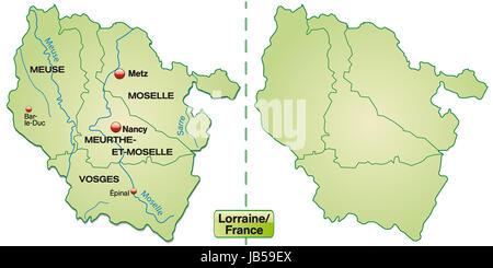 Lothringen in Frankreich als Inselkarte mit Grenzen in Pastellgrün. Die Karte kann sofort für Ihr Vorhaben eingesetzt - Stock Photo