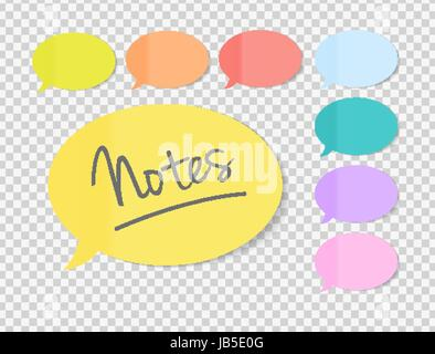 Sticky Office Paper Sheets Notes, Speech Bubble Sign Pack Collection Set with Shadow Isolated on Transparent Background - Stock Photo