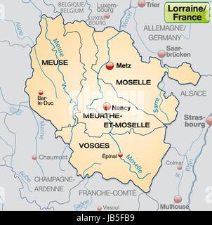 Lothringen in Frankreich als Umgebungskarte mit Grenzen in Pastellorange. Die Karte kann sofort für Ihr Vorhaben - Stock Photo
