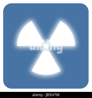 Nuclear radiation symbol on a blue background. Simple Flat design. - Stock Photo