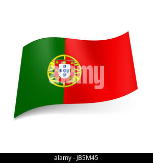 National flag of Portugal: coat-of arms on red and green background - Stock Photo