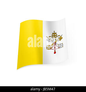 Flag of Vatican City State: yellow and white vertical stripes with coat-of-arms - Stock Photo
