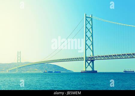Akashi Kaikyo Bridge in Kobe - Stock Photo