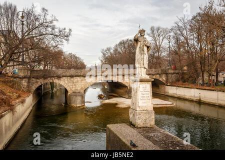 Maximilian Bridge over Isar River in Munich, Upper Bavaria, Germany - Stock Photo