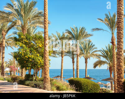 Beautiful view from the embankment in Sharm El Sheikh on Red Sea, Egypt. - Stock Photo