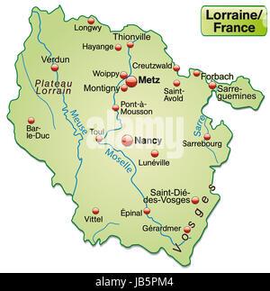 Lothringen in Frankreich als Inselkarte  mit allen wichtigen topografischen Informationen in Pastellgrün. Die Karte - Stock Photo