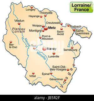 Lothringen in Frankreich als Inselkarte  mit allen wichtigen topografischen Informationen in Pastellorange. Die - Stock Photo
