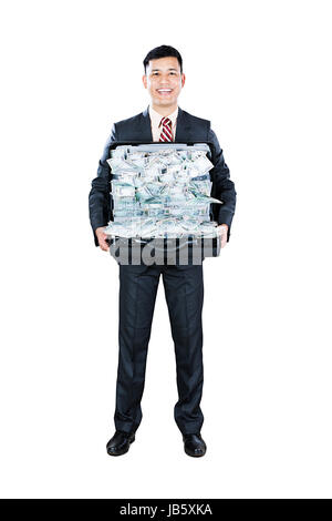 1 Businessman Holding Briefcase Showing Indian Rupees Currency Abundance Cash Lottery Money Promotion - Stock Photo