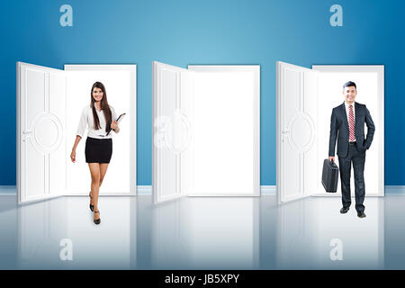 2 Business man And Woman Colleague Walking Threshold Illustration Doors - Stock Photo