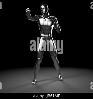 3d rendered illustration - metal fighter - Stock Photo