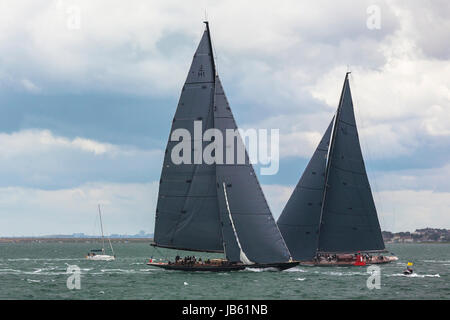 At the windward mark in Race 2 of the J Class Solent Regatta, July 2012, 'Lionheart' (H1) leads 'Rainbow' (H2), - Stock Photo