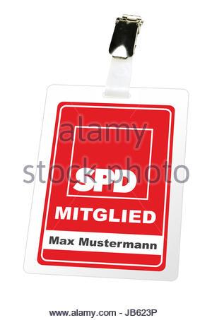 Illustrierte Darstellung eines Mitgliedsausweises der SPD mit einem Clip von Max Mustermann. - KEIN ORIGINAL AUSWEIS - Stock Photo